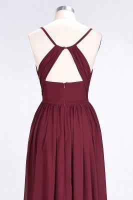 Sexy A-line Flowy Spaghetti-Straps Alluring V-neck Sleeveless Floor-Length Bridesmaid Dress UK UK with Ruffles_6