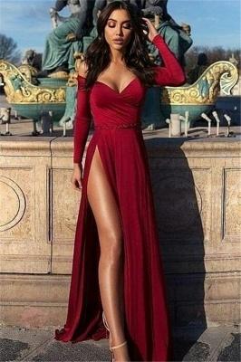 Unique Off-the-Shoulder V-Neck Long Sleeves Front Slipt Prom Dress UK UK_1
