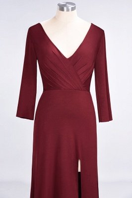 Sexy A-line Spandex Alluring V-neck Long-Sleeves Side-Slit Floor-Length Bridesmaid Dress UK UK with Ruffles_34