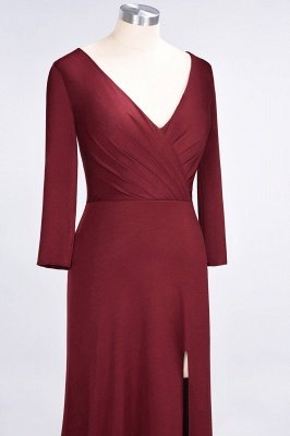 Sexy A-line Spandex Alluring V-neck Long-Sleeves Side-Slit Floor-Length Bridesmaid Dress UK UK with Ruffles_35
