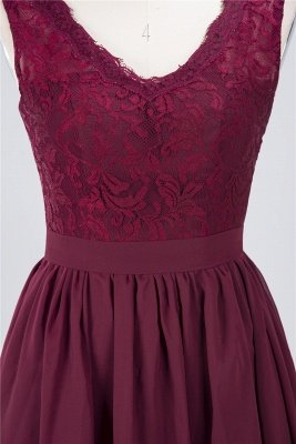 Sexy A-line Flowy Lace Alluring V-neck Sleeveless Short length Bridesmaid Dress UK UK with Ruffles_4