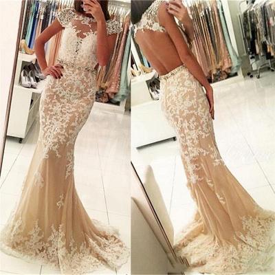 Modern Appliques Scoop Neck Cap Sleeves Elegant Mermaid Prom Dress UK UK_3