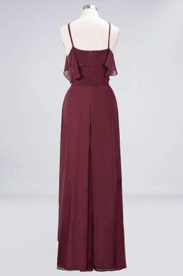 Sexy A-line Flowy Spaghetti-Straps Sleeveless Ruffles Floor-Length Bridesmaid Dress UK UK with Bow Sash_2