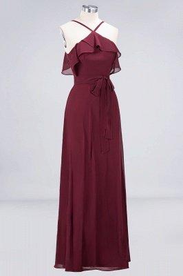 Sexy A-line Flowy Spaghetti-Straps Sleeveless Ruffles Floor-Length Bridesmaid Dress UK UK with Bow Sash_3