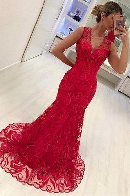 Elegant Mermaid Appliques Straps Sleeveless Alluring V-neck Long Prom Dress UK_1