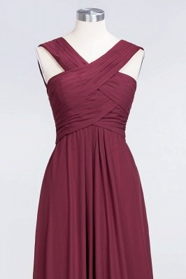 Sexy A-line Flowy Alluring V-neck Straps Sleeveless Floor-Length Bridesmaid Dress UK UK with Ruffles_4