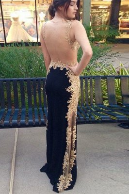 Sexy Black Straps Sleeveless Appliques Column Prom Dress UK UK_2