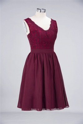 Sexy A-line Flowy Lace Alluring V-neck Sleeveless Short length Bridesmaid Dress UK UK with Ruffles_3