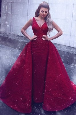 Sheath Lace Alluring V-neck Straps Sleeveless Prom Dress UK with Beadings_1