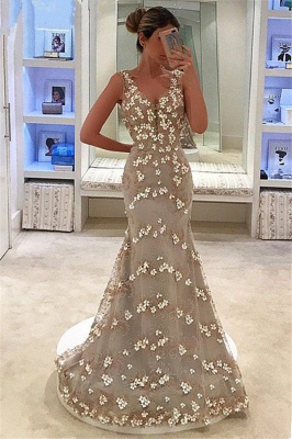 Elegant Mermaid Appliques Sleeveless Straps Alluring V-neck Long Prom Dress UK_1