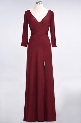 Sexy A-line Spandex Alluring V-neck Long-Sleeves Side-Slit Floor-Length Bridesmaid Dress UK UK with Ruffles_31