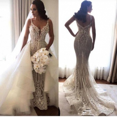 Elegant Spaghetti Straps Sleeveless Sexy Mermaid Appliques Wedding Dress_1