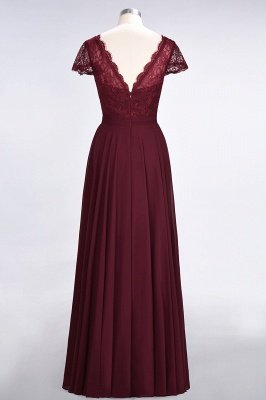 Sexy A-line Flowy Lace Alluring V-neck Cap-Sleeves Floor-Length Bridesmaid Dress UK UK_2