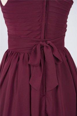 Sexy A-line Flowy One-Shoulder Sleeveless Short length Bridesmaid Dress UK UK with Ruffles_5