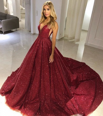 Sexy A-line Straps Sleeveless Alluring V-neck Long Prom Dress UK_3