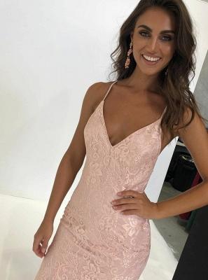 Unique Spaghetti Straps Sleeveless V-Neck Open Back Appliques Prom Dress UK UK_3