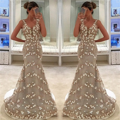 Elegant Mermaid Appliques Sleeveless Straps Alluring V-neck Long Prom Dress UK_3