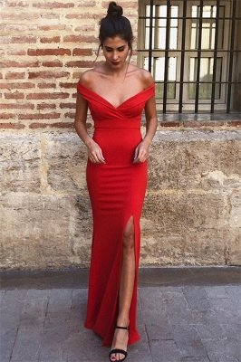 Elegant Elegant Mermaid Off-the-Shoulder Sleeveless Front-Slipt Prom Dress UK_1