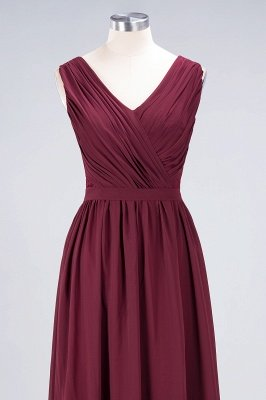 Sexy A-line Flowy Lace Alluring V-neck Sleeveless Floor-Length Bridesmaid Dress UK UK with Ruffles_4
