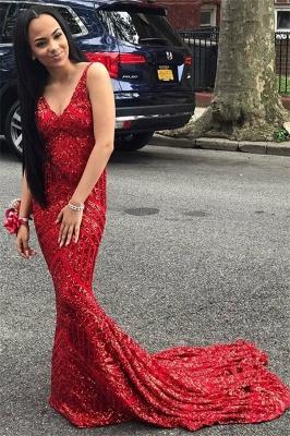 Modern Spaghetti Straps Sleeveless V-Neck Sequins Elegant Mermaid Prom Dress UK UK_1