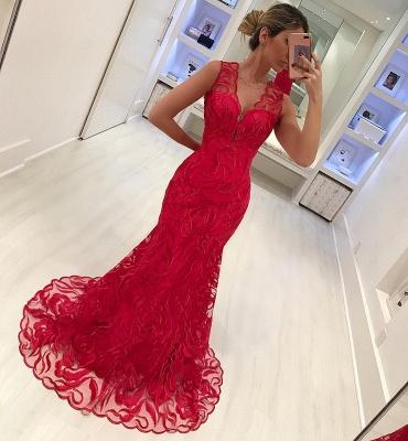 Elegant Mermaid Appliques Straps Sleeveless Alluring V-neck Long Prom Dress UK_4