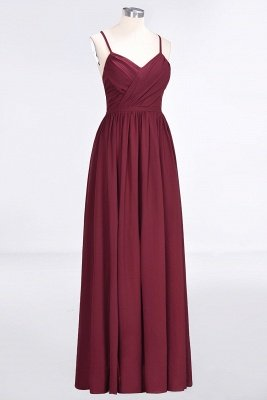 Sexy A-line Flowy Spaghetti-Straps Alluring V-neck Sleeveless Floor-Length Bridesmaid Dress UK UK with Ruffles_3