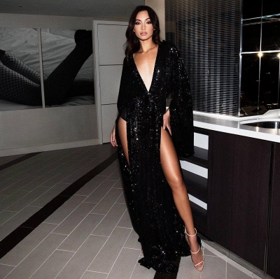 Elegant Hot Deep V-Neck Long Sleeves Front Split Prom Dress UK UK_1