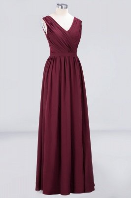 Sexy A-line Flowy Lace Alluring V-neck Sleeveless Floor-Length Bridesmaid Dress UK UK with Ruffles_3