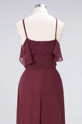 Sexy A-line Flowy Spaghetti-Straps Sleeveless Ruffles Floor-Length Bridesmaid Dress UK UK with Bow Sash_6