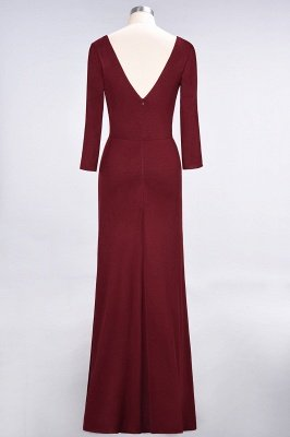 Sexy A-line Spandex Alluring V-neck Long-Sleeves Side-Slit Floor-Length Bridesmaid Dress UK UK with Ruffles_32
