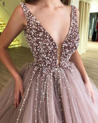 Tulle Beading Deep-Alluring V-neck Straps Sleeveless Prom Dress UK_3