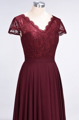 Sexy A-line Flowy Lace Alluring V-neck Cap-Sleeves Floor-Length Bridesmaid Dress UK UK_5