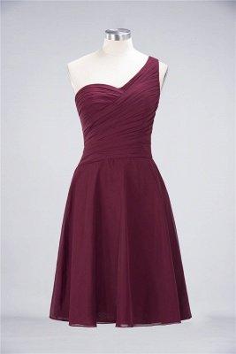 Sexy A-line Flowy One-Shoulder Sweetheart Sleeveless Short length Bridesmaid Dress UK UK with Ruffles_35