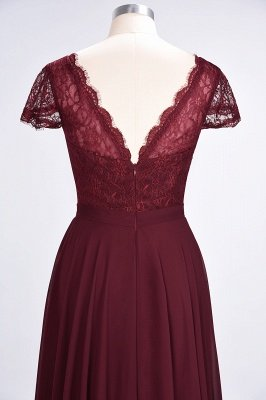 Sexy A-line Flowy Lace Alluring V-neck Cap-Sleeves Floor-Length Bridesmaid Dress UK UK_6