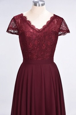 Sexy A-line Flowy Lace Alluring V-neck Cap-Sleeves Floor-Length Bridesmaid Dress UK UK_4
