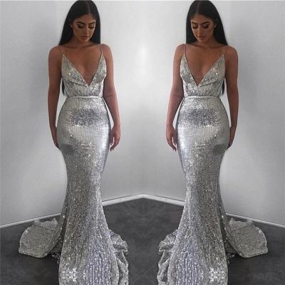 Sparkling Elegant Mermaid Sequins Spaghetti-Straps Sleeveless Long Prom Dress UK_4