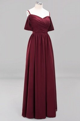 A-Line Light Chiffon V-Neck Spaghetti Straps Short-Sleeves Sweep Train Bridesmaid Dress UKes UK UK with Ruffles_10