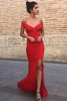 Elegant Elegant Mermaid Off-the-Shoulder Sleeveless Front-Slipt Prom Dress UK_3