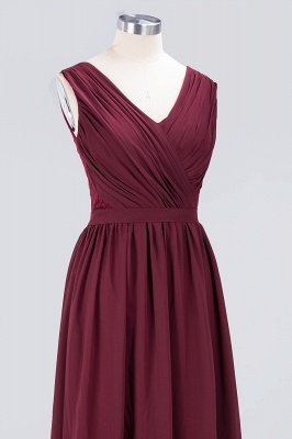 Sexy A-line Flowy Lace Alluring V-neck Sleeveless Floor-Length Bridesmaid Dress UK UK with Ruffles_5
