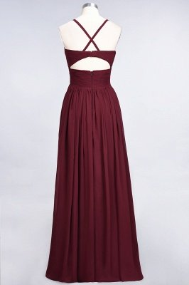Sexy A-line Flowy Spaghetti-Straps Alluring V-neck Sleeveless Floor-Length Bridesmaid Dress UK UK with Ruffles_36