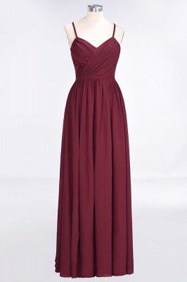 Sexy A-line Flowy Spaghetti-Straps Alluring V-neck Sleeveless Floor-Length Bridesmaid Dress UK UK with Ruffles_1