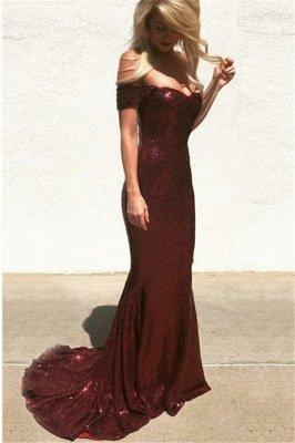 Unique Off-the-Shoulder Cute strapless Sleeveless Elegant Mermaid Sweep Train Prom Dress UK UK_2