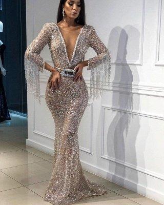Elegant Hot Elegant Mermaid Tulle Sequins Deep V-Neck 3/4 Sleeves Sweep Train Prom Dress UK UK with Tassels_3