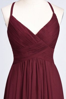 Sexy A-line Flowy Spaghetti-Straps Alluring V-neck Sleeveless Floor-Length Bridesmaid Dress UK UK with Ruffles_38