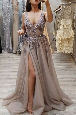 Chic Straps Sleeveless Front Slit A-Line V-Neck Long Prom Dress UKes UK UK_3
