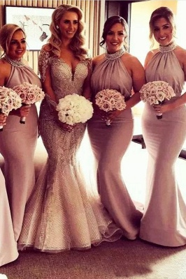 Timeless Halter Elegant Mermaid Bridesmaid Dress UKes UK | Elegant Ruched Long Wedding Party Dress UKes UK_2
