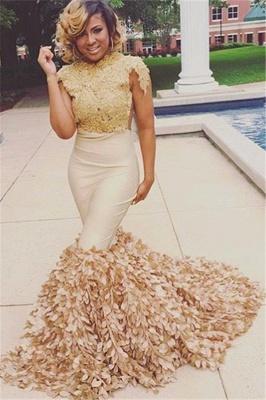 Stylish Round Neck Appliques Short Sleeves Elegant Mermaid Floor-Length Prom Dress UKes UK UK_3