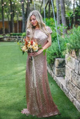 Elegant Sequin Bridesmaid Dress UKes UK | Rose Gold Long Wedding Guest Dress UKes UK_2