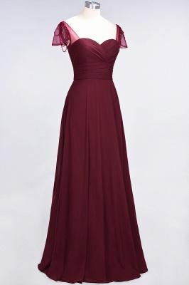 A-Line Chiffon Sweetheart Cap-Sleeves Ruffle Long Bridesmaid Dress UK with Beadings_4