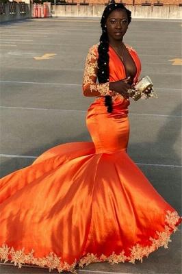 Chic with Sleeves Deep V-Neck Appliques Elegant Mermaid Lace Prom Dress UKes UK UK_1